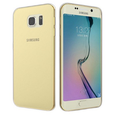 Microsonic Samsung Galaxy S6 Edge+ Plus Kılıf Transparent Soft Gold Cep Telefonu Kılıfı