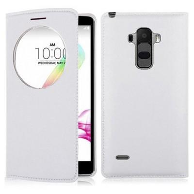 Microsonic Lg G4 Stylus Kılıf Circle View Slim Kapaklı Akıllı Beyaz Cep Telefonu Kılıfı