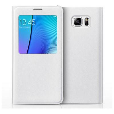 Microsonic Samsung Galaxy Note 5 Kılıf View Cover Delux Kapaklı Beyaz Cep Telefonu Kılıfı