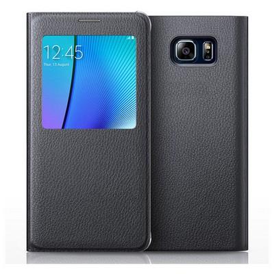 Microsonic Samsung Galaxy Note 5 Kılıf View Cover Delux Kapaklı Siyah Cep Telefonu Kılıfı