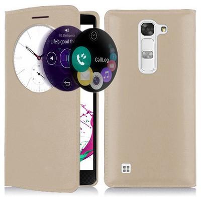 Microsonic Lg G4c Kılıf Circle View Slim Kapaklı Akıllı Gold Cep Telefonu Kılıfı