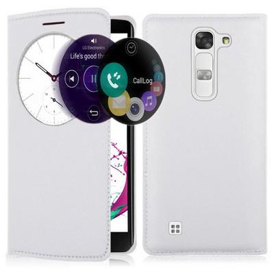 Microsonic Lg G4c Kılıf Circle View Slim Kapaklı Akıllı Beyaz Cep Telefonu Kılıfı
