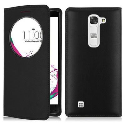Microsonic Lg G4c Kılıf Circle View Slim Kapaklı Akıllı Siyah Cep Telefonu Kılıfı