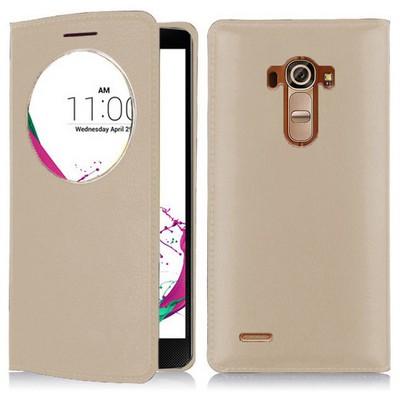 Microsonic Lg G4 Beat (lg G4s) Kılıf Circle View Slim Kapaklı Akıllı Gold Cep Telefonu Kılıfı