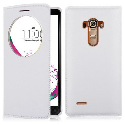 Microsonic Lg G4 Beat (lg G4s) Kılıf Circle View Slim Kapaklı Akıllı Beyaz Cep Telefonu Kılıfı