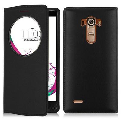 Microsonic Lg G4 Beat (lg G4s) Kılıf Circle View Slim Kapaklı Akıllı Siyah Cep Telefonu Kılıfı