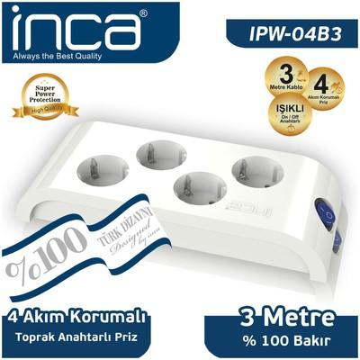 Inca IPW-04B3 3 Metre %100 Türk Tasarımlı 4'LÜ Akım Korumalı Priz Beyaz Ses ve Görüntü Kabloları