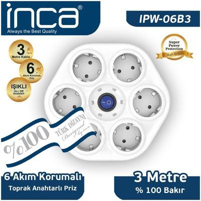 Inca Ipw-06b3 Ipw-06b %100 Türk Tasarımı 6'lı Oval Akım Korumalı Işıklı Priz 3 Ses ve Görüntü Kabloları