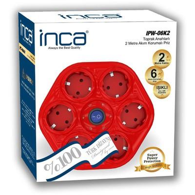 Inca Ipw-06k2 Ipw-06k2 %100 Türk Tasarımı 6'lı Oval Akım Korumalı Işıklı Priz 2 Ses ve Görüntü Kabloları