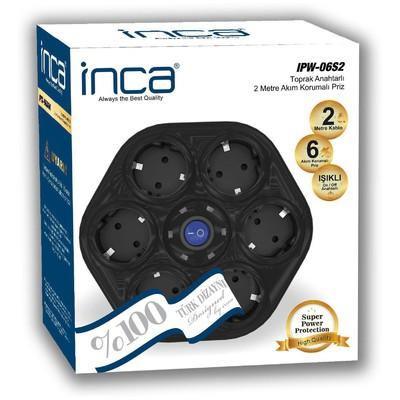 Inca Ipw-06s2 Ipw-06s2 %100 Türk Tasarımı 6'lı Oval Akım Korumalı Işıklı Priz 2 Ses ve Görüntü Kabloları