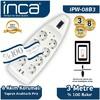 Inca Ipw-08b3 Ipw-08b3 8'li Akım Korumalı Çift Usb Girişli Priz 3m Beyaz Ses ve Görüntü Kabloları