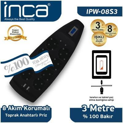 Inca Ipw-08s3 Ipw-08s3 8'li Akım Korumalı Çift Usb Girişli Priz 3m Siyah Ses ve Görüntü Kabloları