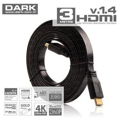 Dark Dk-hd-cv14l3sp5 3m V1.4 Slım Hdmı Kablo - Siyah5'li Pk. HDMI Kablolar