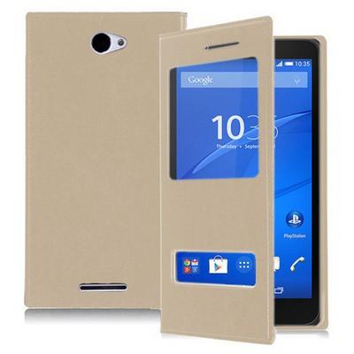 Microsonic Sony Xperia E4 5.0'' Kılıf Dual View Delux Kapaklı Gold Cep Telefonu Kılıfı