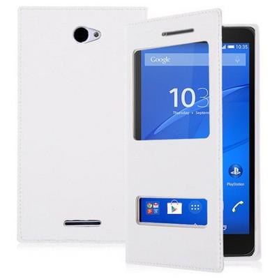 Microsonic Sony Xperia E4 5.0'' Kılıf Dual View Delux Kapaklı Beyaz Cep Telefonu Kılıfı