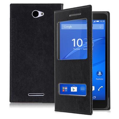 Microsonic Sony Xperia E4 5.0'' Kılıf Dual View Delux Kapaklı Siyah Cep Telefonu Kılıfı