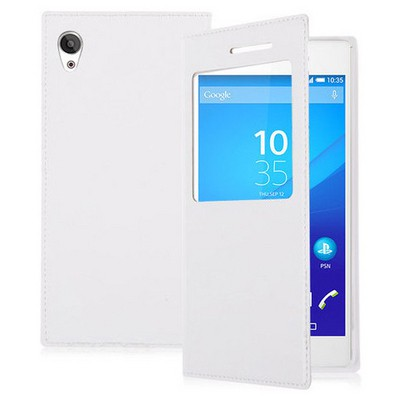 Microsonic Sony Xperia Z3+ Plus Kılıf View Slim Kapaklı Beyaz Cep Telefonu Kılıfı