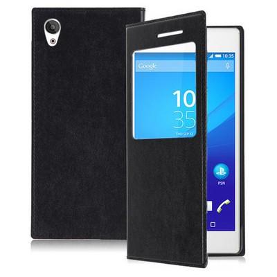Microsonic Sony Xperia Z3+ Plus Kılıf View Slim Kapaklı Siyah Cep Telefonu Kılıfı