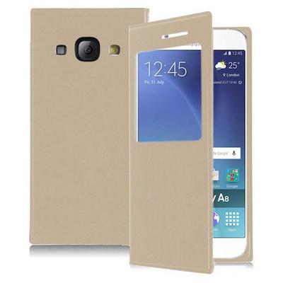 Microsonic Samsung Galaxy A8 Kılıf View Slim Kapaklı Akıllı Modlu Gold Cep Telefonu Kılıfı