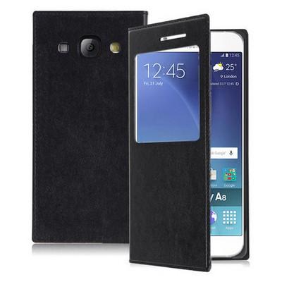 Microsonic Samsung Galaxy A8 Kılıf View Slim Kapaklı Akıllı Modlu Siyah Cep Telefonu Kılıfı