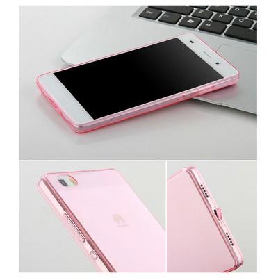 Microsonic Huawei Ascend P8 Lite Kılıf Transparent Soft Pembe Cep Telefonu Kılıfı