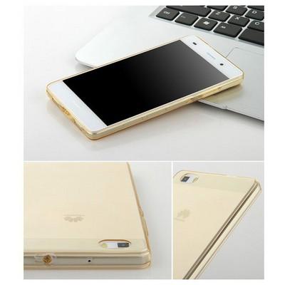 Microsonic Huawei Ascend P8 Lite Kılıf Transparent Soft Gold Cep Telefonu Kılıfı