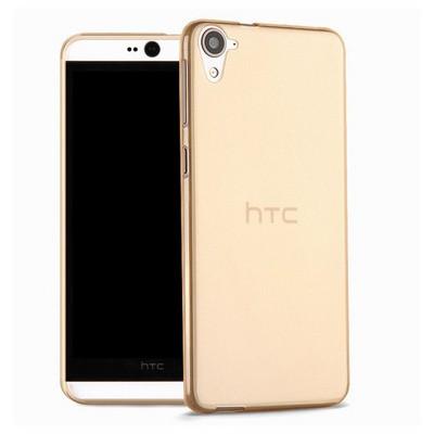 Microsonic Htc Desire 826 Kılıf Transparent Soft Gold Cep Telefonu Kılıfı
