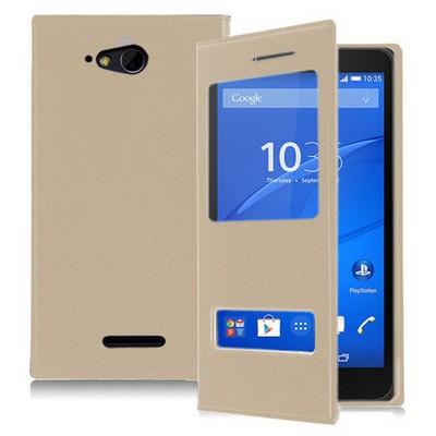 Microsonic Sony Xperia E4g 4.7'' Kılıf Dual View Delux Kapaklı Gold Cep Telefonu Kılıfı