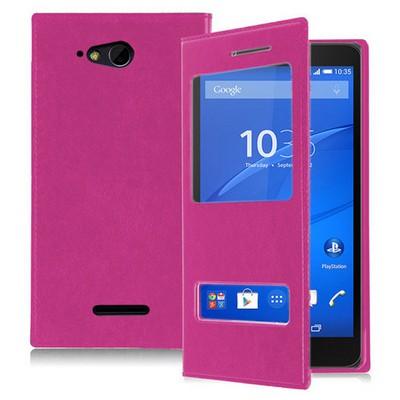 Microsonic Sony Xperia E4g 4.7'' Kılıf Dual View Delux Kapaklı Pembe Cep Telefonu Kılıfı