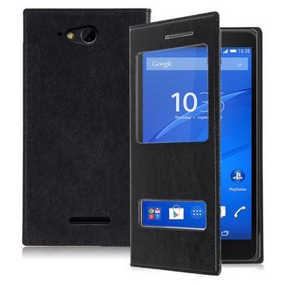 Microsonic Sony Xperia E4g 4.7'' Kılıf Dual View Delux Kapaklı Siyah Cep Telefonu Kılıfı