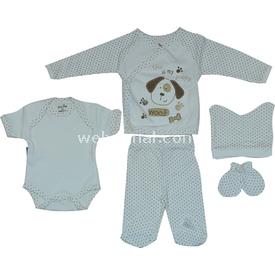 Babyjem 310220 Prematüre 5li Set Krem-kahverengi 00 Ay (prematüre) Erkek Bebek Hastane Çıkışı
