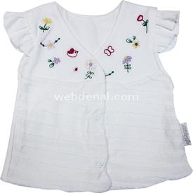 Babybal l 97901 Çiçekli Kız Bebek Yeleği Krem 6-9 Ay (68-74 Cm) Hırka, Yelek, Kazak