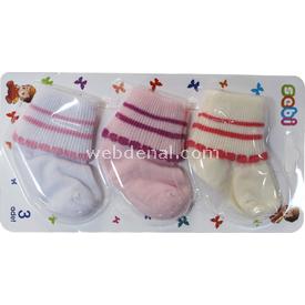Sebi Bebe 197 3lü Bebek Çorabı Pembe-krem Erkek Bebek Çamaşırı