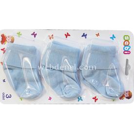 Sebi Bebe 120 3lü Bebek Çorabı Mavi Kız Bebek Çamaşırı