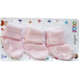 Sebi Bebe 120 3lü Bebek Çorabı Pembe Kız Bebek Çamaşırı