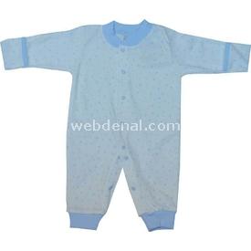 Sebi Bebe 52335 Yıldızlı  Krem-mavi 0-3 Ay (56-62 Cm) Bebek Tulumu