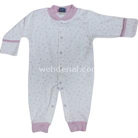 Sebi Bebe 52335 Yıldızlı  Krem-pembe 0-3 Ay (56-62 Cm) Bebek Tulumu