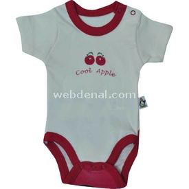 Babycool 2207 Elma Baskılı Kısakol Body Krem-kırmızı 12-18 Ay (80-86 Cm) Erkek Bebek Body