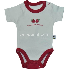 Babycool 2208 Kısa Kol Bebek Body Çilek Baskılı Krem-kırmızı 3-6 Ay (62-68 Cm) Kız Bebek Body