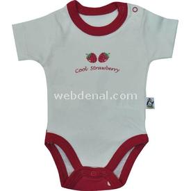 Babycool 2208 Kısa Kol Bebek Body Çilek Baskılı Krem-kırmızı 6-9 Ay (68-74 Cm) Kız Bebek Body