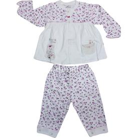 Minidamla 41785 Çiçekli Pijama Takımı Ekru-pembe 9-12 Ay (74-80 Cm) Kız Bebek Pijaması