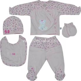 Minidamla 41781 Çiçek Baskılı Kız Bebek Hastane Çıkış Seti 5li Fuşya 0-3 Ay (56-62 Cm) Kız Bebek Hastane Çıkışı