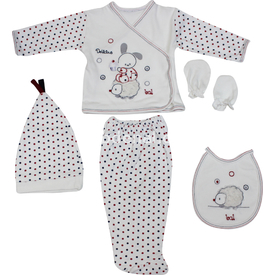 Babybal 97615 Tavşanlı Hastane Çıkış Seti 5li Krem-gri Erkek Bebek Hastane Çıkışı