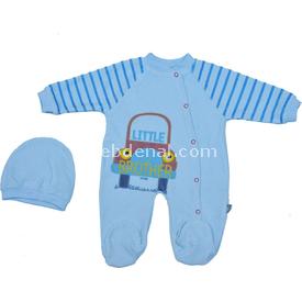 Baby Tongs 132119 Kadife Arabalı  Mavi 3-6 Ay (62-68 Cm) Bebek Tulumu