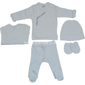 Caramell 1893 Bebek 4lü Set Beyaz 0-3 Ay (56-62 Cm) Erkek Bebek Hastane Çıkışı