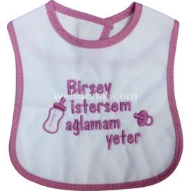 Sebi Bebe 53420 Birşey Istersem Ağlamam Yeter Mama Önlüğü Pembe Bebek Besleme