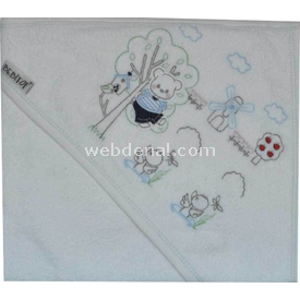 Bebitof 3160 Değirmenli Bebek Havlusu Mavi Havlu & Bornoz