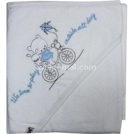Bebitof 3150 Bisikletli Ayı Bebek Havlusu Mavi Bornoz
