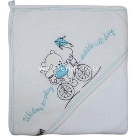 Bebitof 3150 Bisikletli Ayı Bebek Havlusu Turkuaz Bornoz