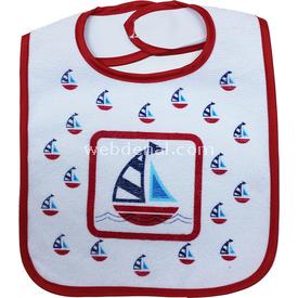 Sevi Bebe 506 Eko Cırtlı Mama Önlüğü Gemi Bebek Besleme